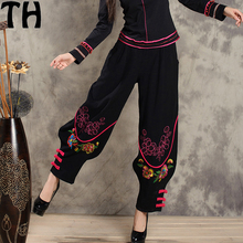 women pants embroidery ladies bloomers cotton loose 2017 Chinese costume embroidery long pants wide leg pants