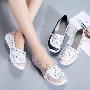 Image 5 - STQ 2020 yaz kadın Flats hakiki deri ayakkabı bale daireler üzerinde kayma balerinler Flats kadın Moccasins düz loafer ayakkabılar 7737