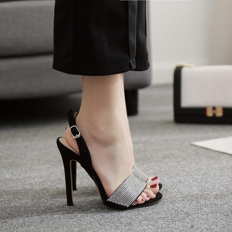 POADISFO Women's Fashion OL Elegant women's sandals luxury rhinestone word buckle fine with super high heels 40 yards.ZL-760-W7