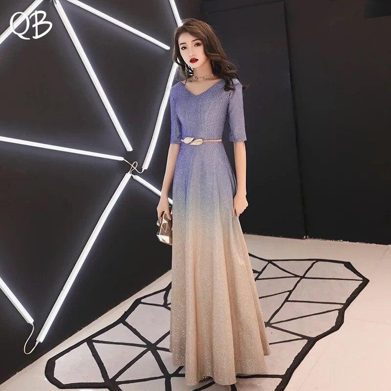 Bleu Champagne luxe a-ligne étage longueur demi manches Sequin Tulle robes de soirée 2019 nouvelle mode robes de soirée XH451