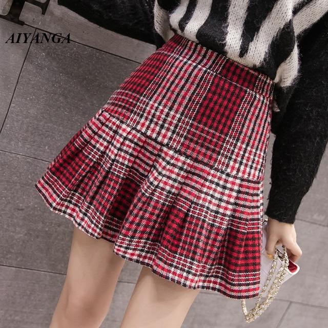 35806611c6 New Warm Woolen Skirts For Women 2018 Autumn Winter Skirts Female Plaid  Skirt Preppy Style High