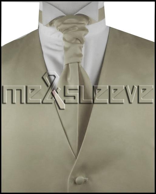 hot sale  Men's new plain champagne waistcoat short dresses (vest+ascot tie+cufflinks+handkerchief)