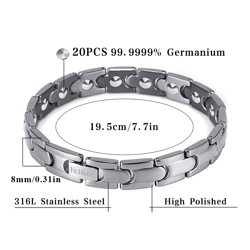 Hottime Bio Magnetic Health Care Bracelet Full 99 99 Germanium Bracelet For Women S Fashion Stainless