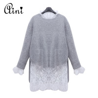 QA New Arrival Spring And Autumn Women Light Grey Mink Cashmere Sweater And Long Sleeve Casual