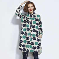 Spring Loose Streetwear Cat Print Long Shirt Peter Pan Collar Women Tops Cotton Linen Woven Full