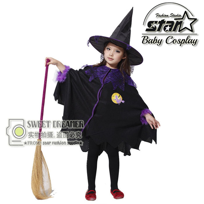 Witch Cloak Kid Halloween Costumes Children Cosplay Dress Girl Carnival Party Fantasia Vestido Clothing for Stage Performance купить