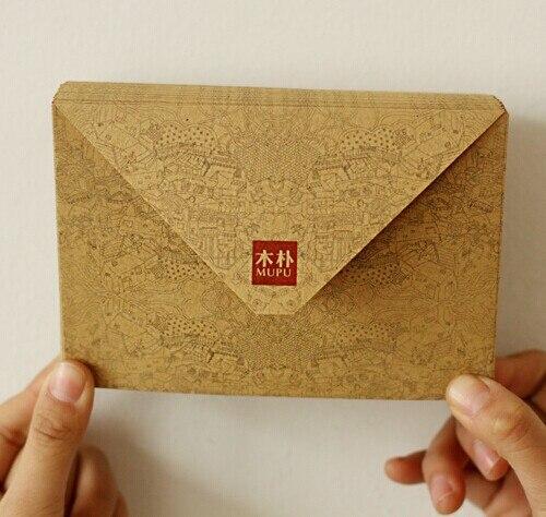 100 Pcs/lot New Vintage Kraft Paper DIY Envelope Set Fancy Envelopes Kawaii Gift Stationary School Supplies New Year Greeting