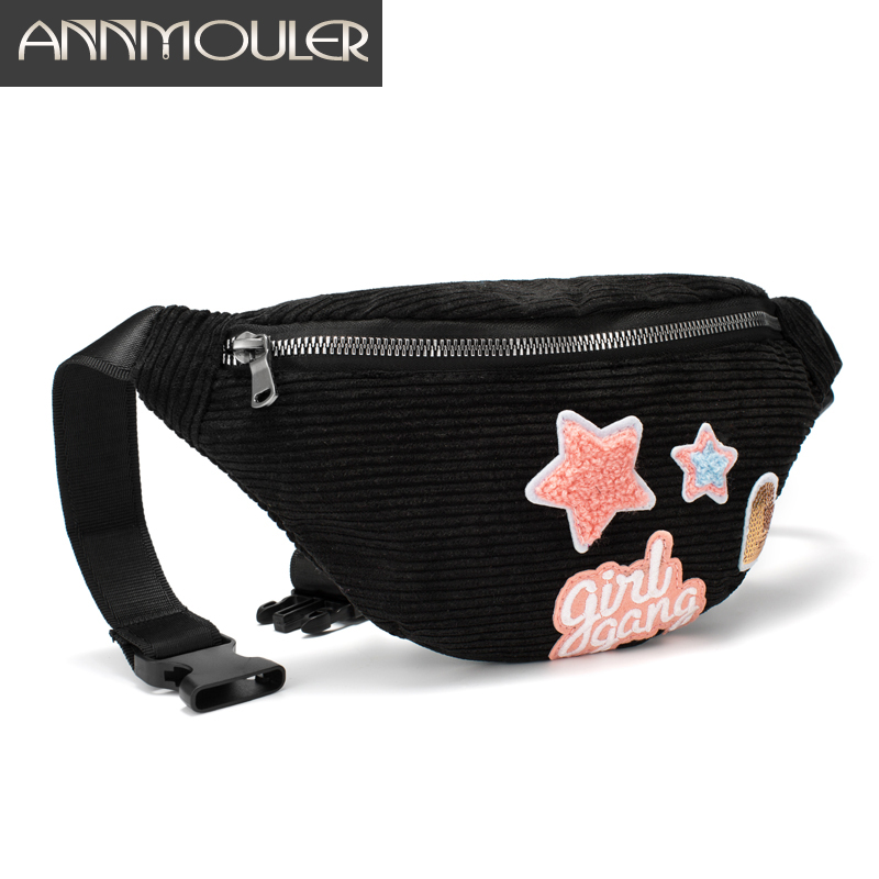 Annmouler Women Fanny Pack Large Capacity Waist Bag 6 Color Patchwork Waist Packs Corduroy Girls Phone Belt Bag Star Bum Bag