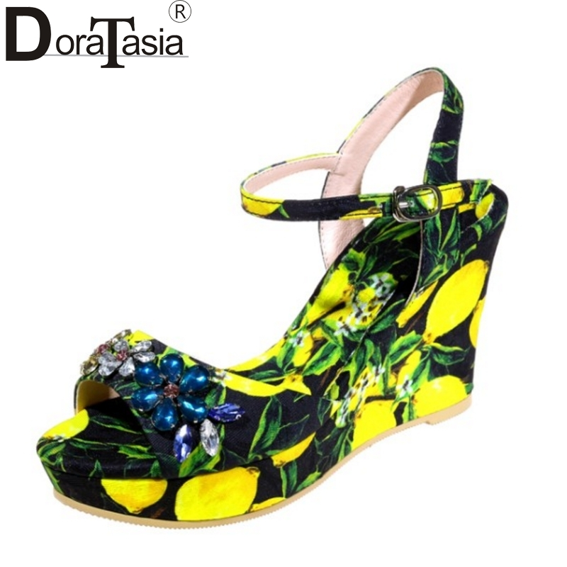 DoraTasia Brand Design Printing Rhinestone Crystal Women Sandals Sexy Platform Wedge High Heel Party Wedding Shoes Woman lf40203 sexy white pink blue strappy heart heel wedge wedding sandals sz 4 5 6 7 8 9 10