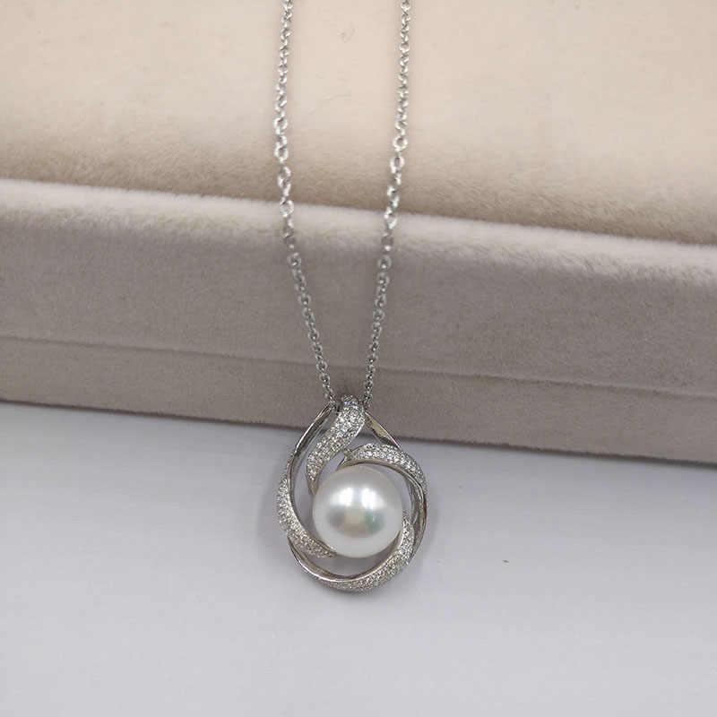 Sinya naturalne perły słodkowodne naszyjnik srebro 925 projektowania mody dla kobiet mama dziewczynki