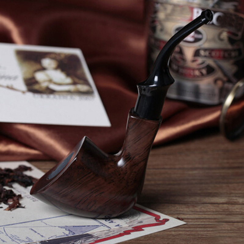 Hot Handmade Ebony Filter Pipe Tobacco Smoking Accessories Bent Style W/ Gift Box Wooden Smoke pipe Filter Cigarette Holder nordic american modern minimalist creative led pendant lights living room dining glass three head pastoral bird pendant lamps