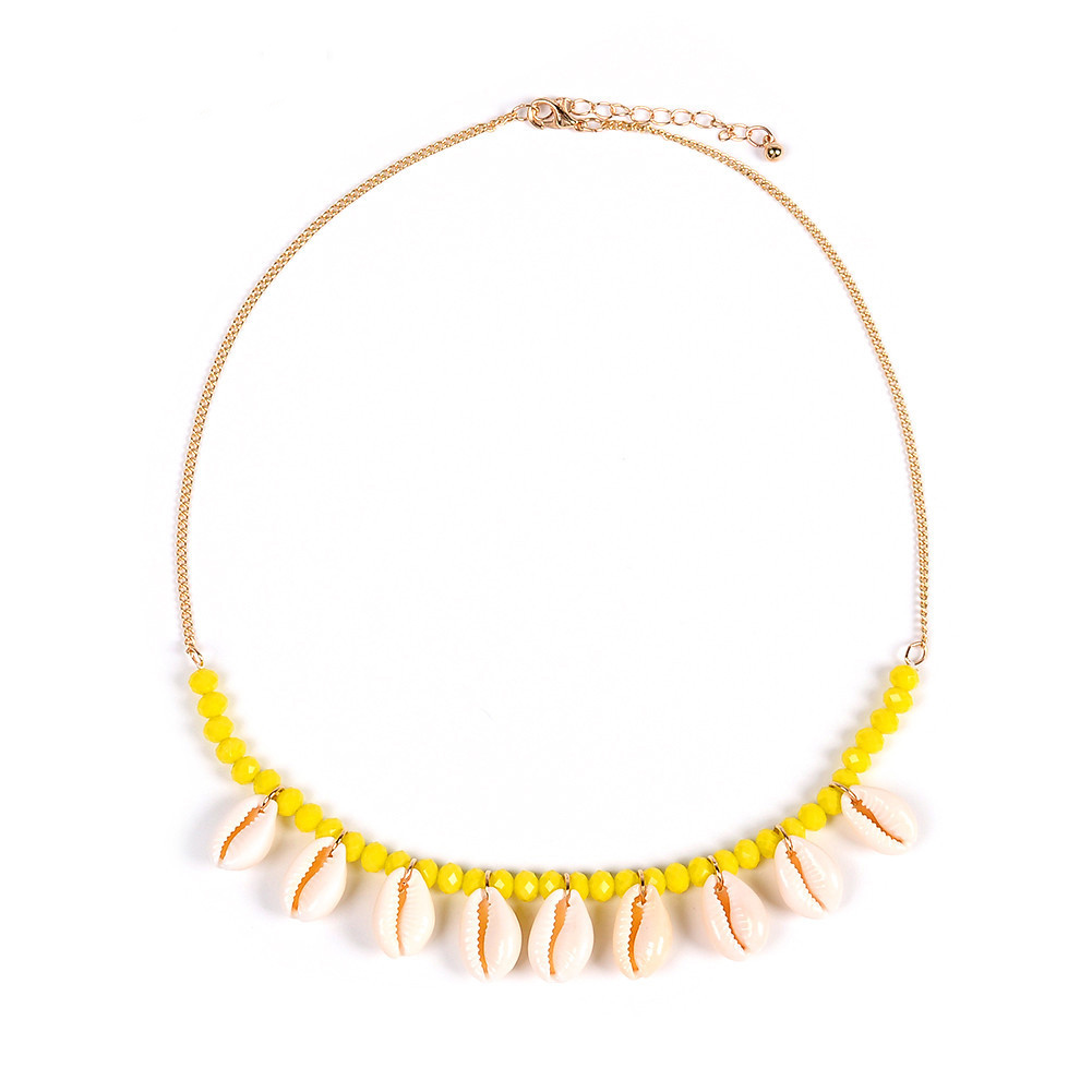 2019 Bohemian Colorful Bead Shell Statement Pendant Necklace Summer Beach Shells Necklace Choker Gold Chain Accessary in Choker Necklaces from Jewelry Accessories