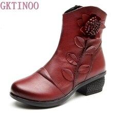GKTINOO 2019 الخريف الشتاء الرجعية الأحذية اليدوية حذاء من الجلد الحقيقي حقيقية أحذية من الجلد Botines موهير النساء أحذية السيدات الأحذية