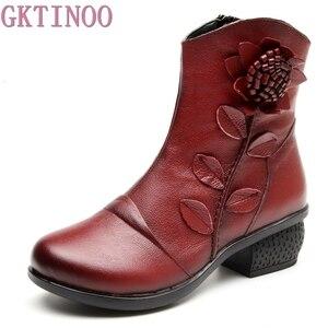 Image 1 - GKTINOO Botas Retro de piel auténtica para Mujer, zapatos Botines hechos a mano, para otoño e invierno, 2019