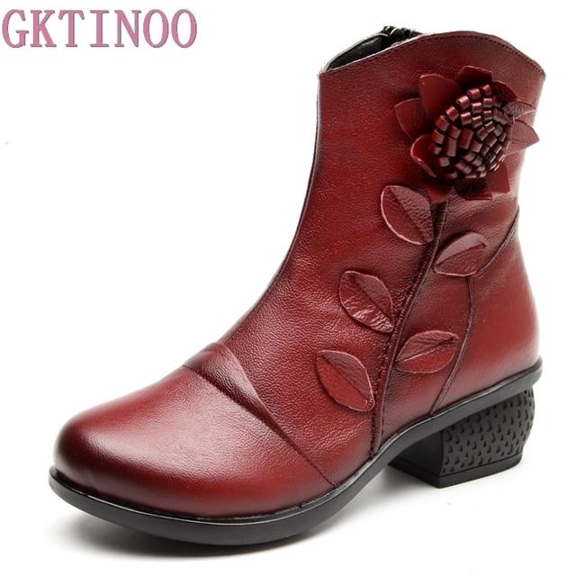 GKTINOO Botas Retro de piel auténtica para Mujer, zapatos Botines hechos a mano, para otoño e invierno, 2019