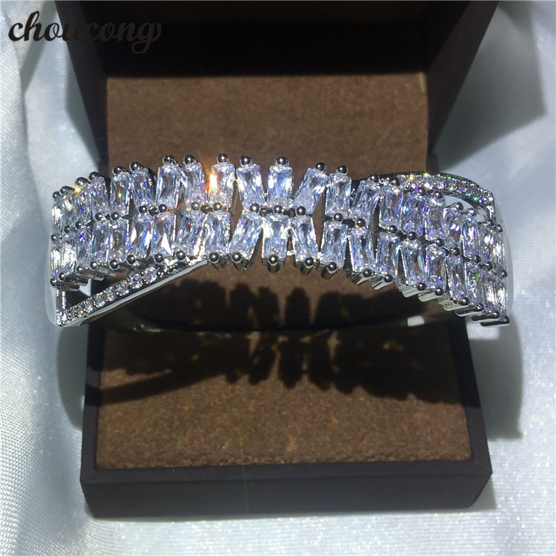 choucong Handmade Cross bracelet Princess 5A cubic zirconia White Gold Filled Party Wedding bangle for women Fashion accessaries