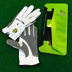 Мужские перчатки для гольфа из овечьей кожи, кожаная перчатка для гольфа, Нескользящая дышащая спортивная перчатка со съемным металлически...