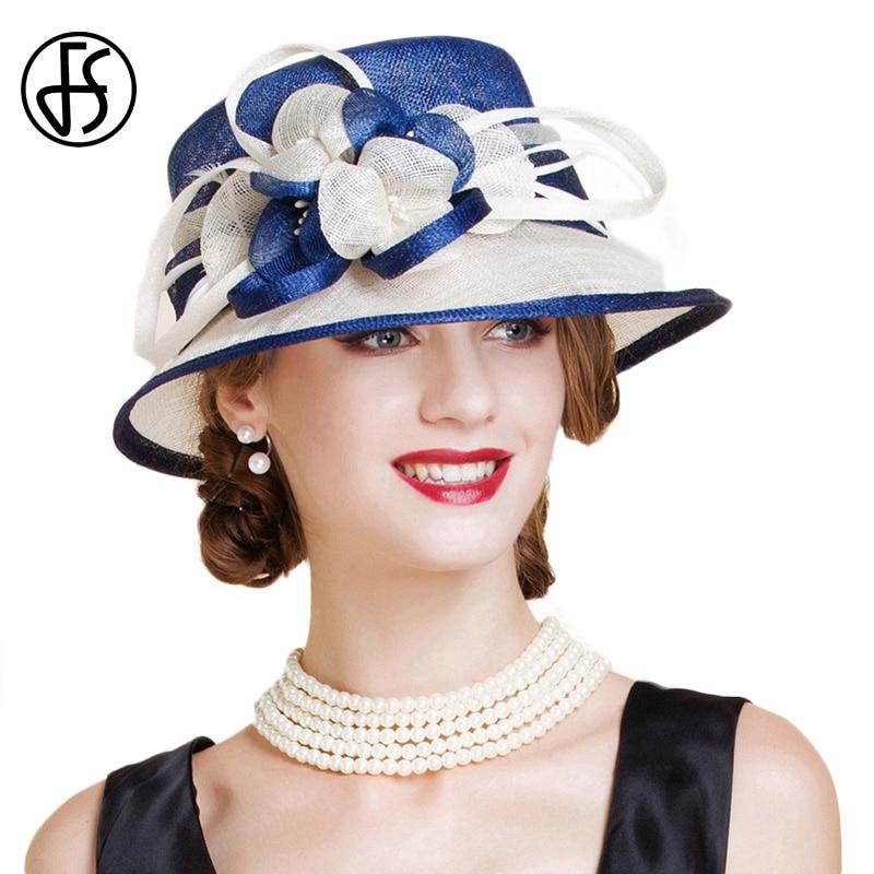 FS British Sinamay Wedding Hat For Woman Church Flower Wide Brim Blue White Linen Fedoras Elegant
