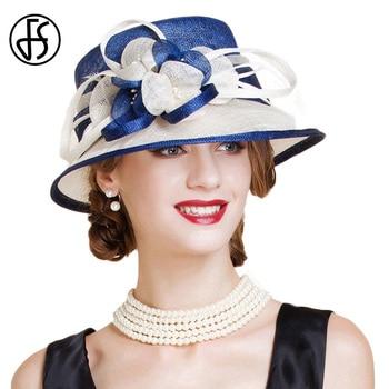 FS British Blue White Sinamay Wedding Hat For Women Elegant Church Flower Wide Brim Fedoras 2019 Linen Kentucky Derby Hat Lady multi brimmed sinamay hat