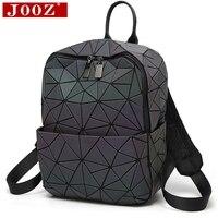 JOOZ Hologram geometric diamond checkered backpack luminous travel men and women backpack pvc laser holographic sac a dos