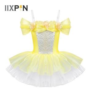 Image 1 - IIXPIN Girls ballet dress ballerina dance clothing dancewear Off Shoulder Design 3D Flowers Gymnastics Leotard Ballet Tutu Dress