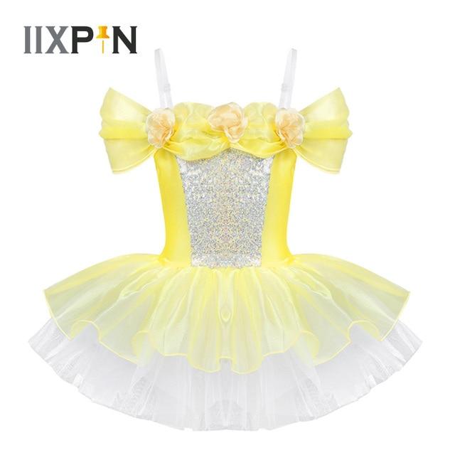 IIXPIN Girls ballet dress ballerina dance clothing dancewear Off Shoulder Design 3D Flowers Gymnastics Leotard Ballet Tutu Dress