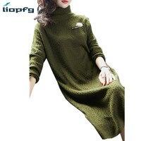 Новая мода Для женщин's осенне-зимняя одежда из шерсти Платья-свитеры дамы Вязание длинные Turteneck Платье женское платье Высокое качество pq174