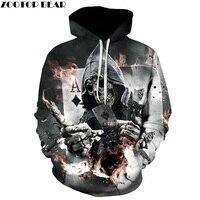 ZOOTOP BEAR New Design Skull Poker Print Men Women Hoodies Funny 3D Sweatshirts Autumn Winter Pullover