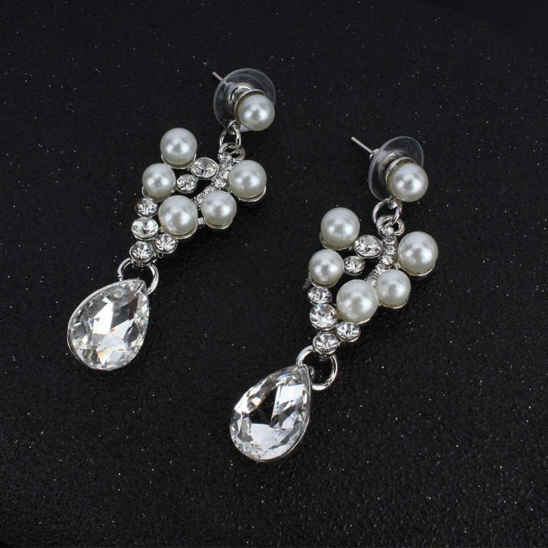 jiayijiaduo Bridal jewelry set imitation pearl necklace earrings set for glamour women wedding dress jewelry gift