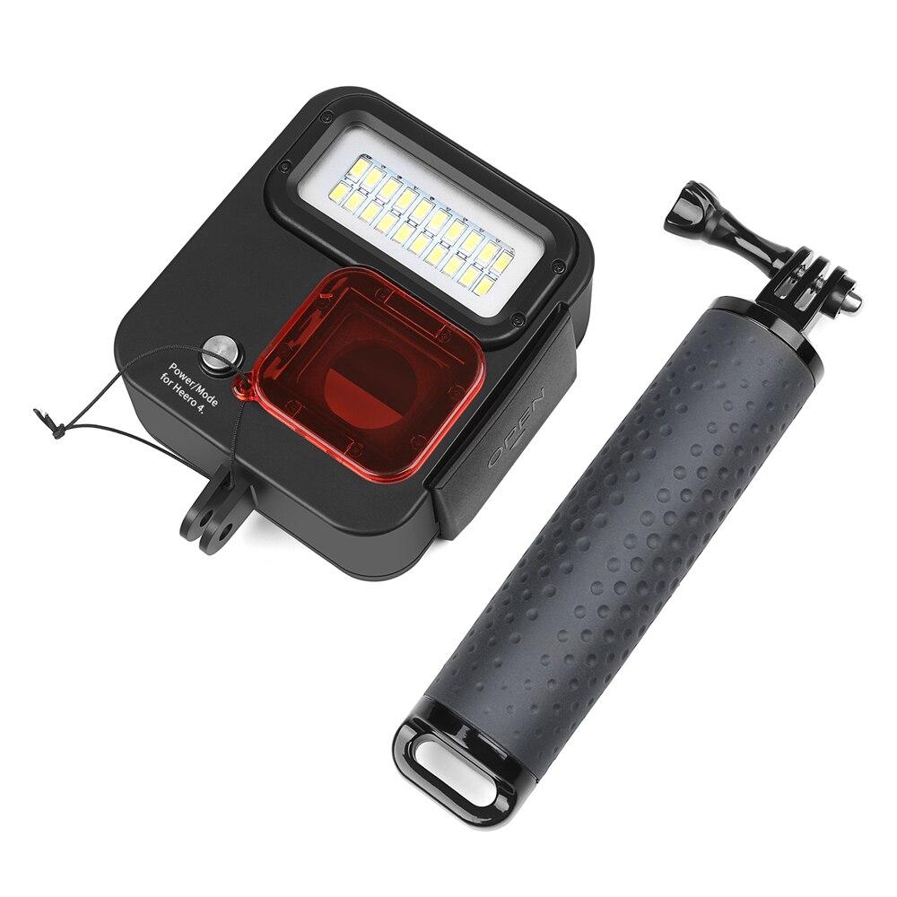 SHOOT 1000LM buceo luz LED funda impermeable para GoPro Hero 7 6 5 negro 4 3 + Cámara de Acción plateada con accesorio para Go Pro 7 6 - 5