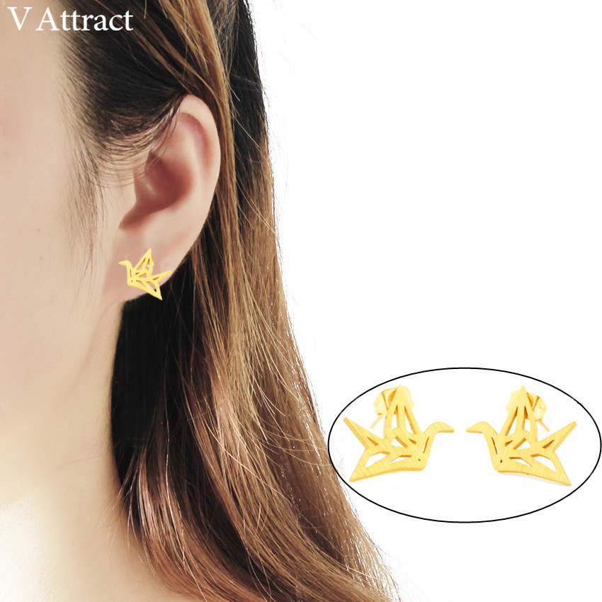 Intellective V Attract 10pair Classic Origami Paper Crane Stud Earring Women Jewelry Stainless Steel Bird Pendientes Mujer Birthday Gift Earrings