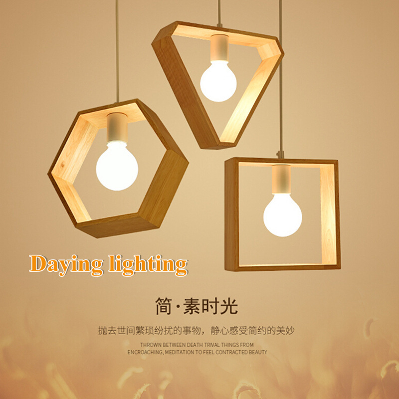 Novelty modern led pendant light square hexagon triangle shape wood nordic lamp ceiling home deco kitchen cozy creative dining novelty flower bird embellished square shape pillowcase