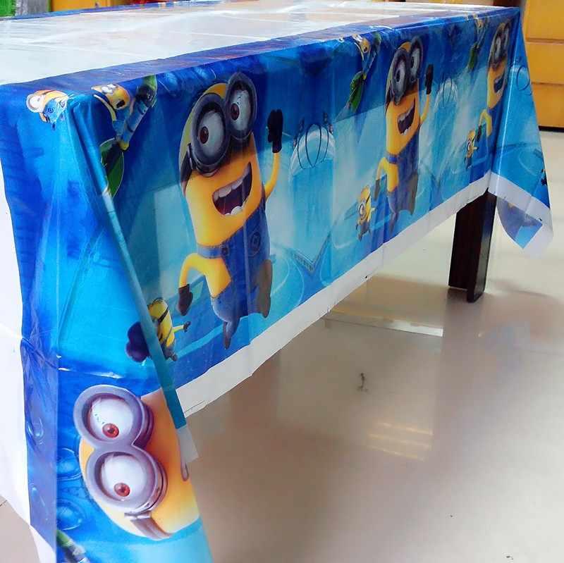 Anak-anak Laki-laki Gadis Pesta Ulang Tahun Sekali Pakai Taplak Meja Minion Kartun Bertema Peta/Cover Meja