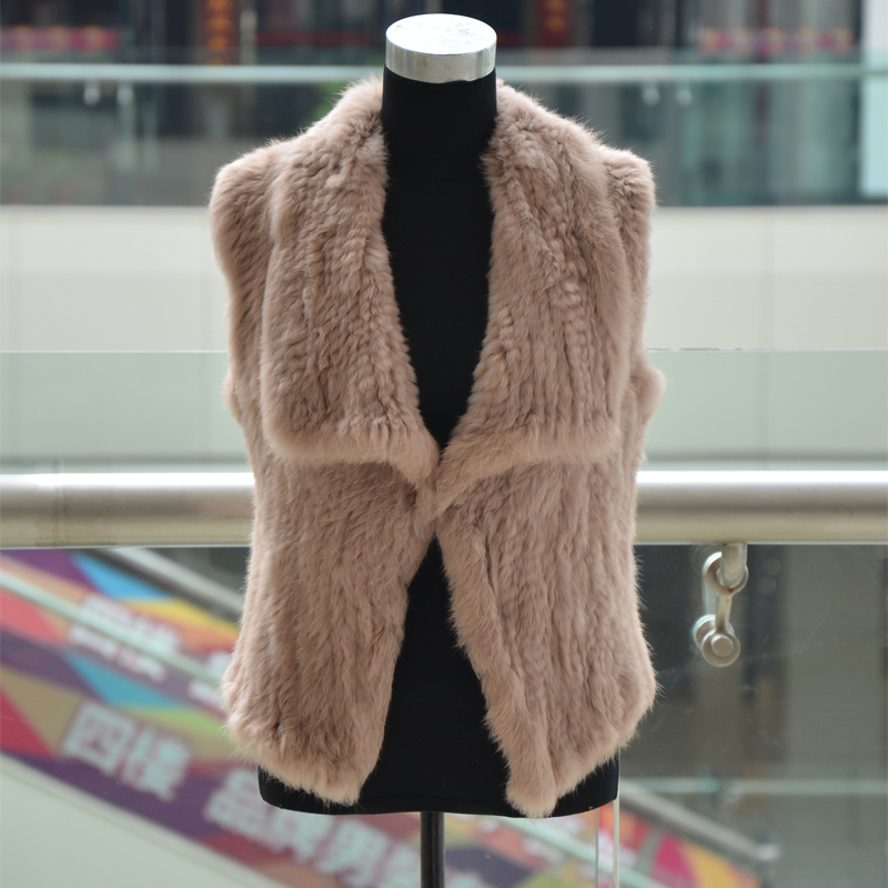The New hot women winter vest sale  ! Free shipping  knitted/knit real rabbit fur vest with collar 4colors  winter vests