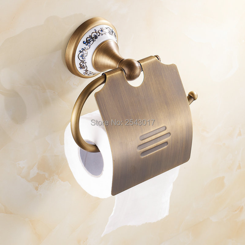 High Quality Copper Brass Toilet Paper Holder Wall Mounted Ceramic Toilet Roll Holder Waterproof Tissue Holder ZR2302  heavy bullet head bobbin holder with ceramic tube tip protecting lines brass copper material