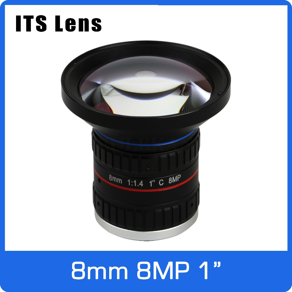 1 Inch 8MP ITS 4K Lens 8mm Big Angle Starlight F1.4 C Mount For Electronic Police Or Traffic Camera