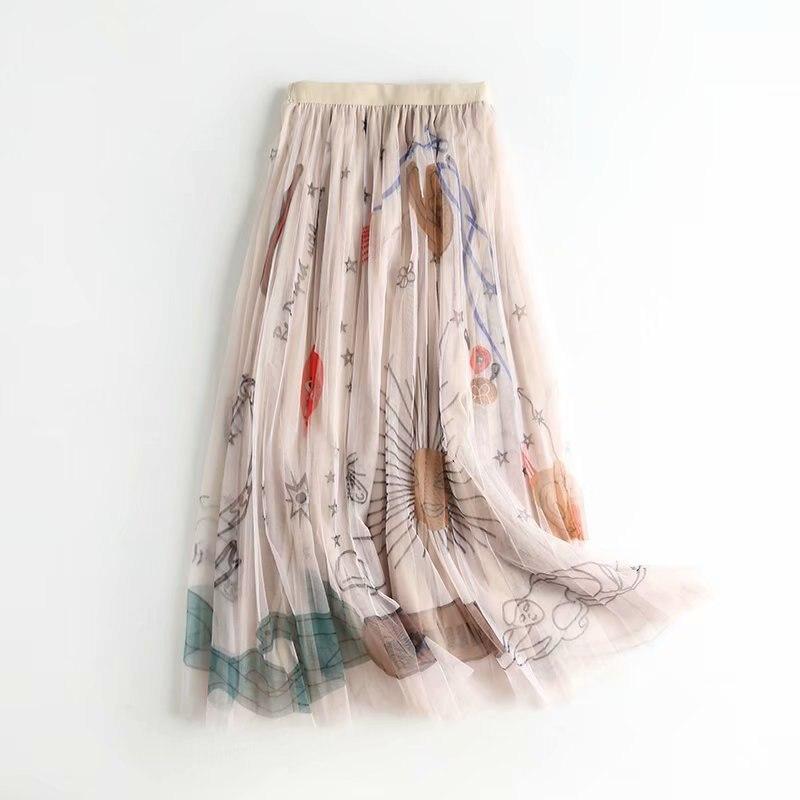 2020 Women Mesh Tulle Skirts Elastic High Waist Graffiti Print Long Skirts Female A-line Pleated Skirts Saias Femme Maxi Skirts