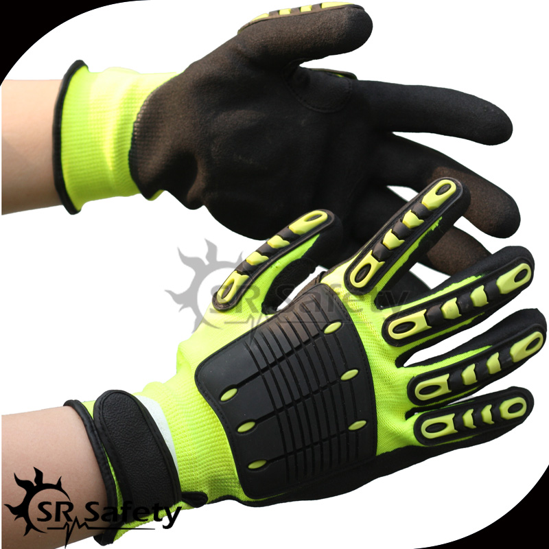 SRSafety 1 Pairs Free Shipping Anti Vibration Working Gloves anti impact Mechanic Gloves