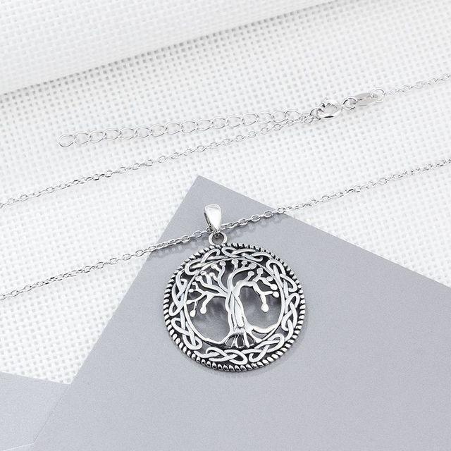 Tree of Life Round Pendant Necklace Women Retro Jewelry Gift 3