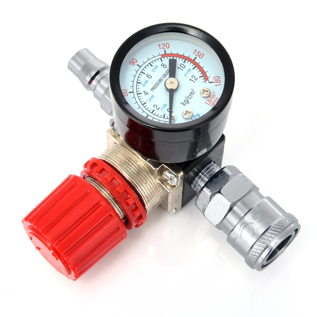 Durable 1/4 Air Compressor Regulator Pressure Switch Control Valve with Gauges 180PSI 240V 1pc air compressor pressure regulator valve air control pressure gauge relief regulator 75x40x40mm