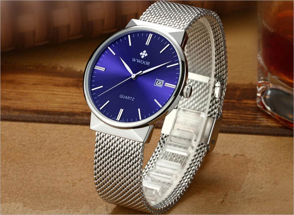 WWOOR Brand Luxury Men Waterproof Stainess Steel Casual Gold Watches Men's Quartz Sport Wrist Watch Male Clock relogio masculino 4