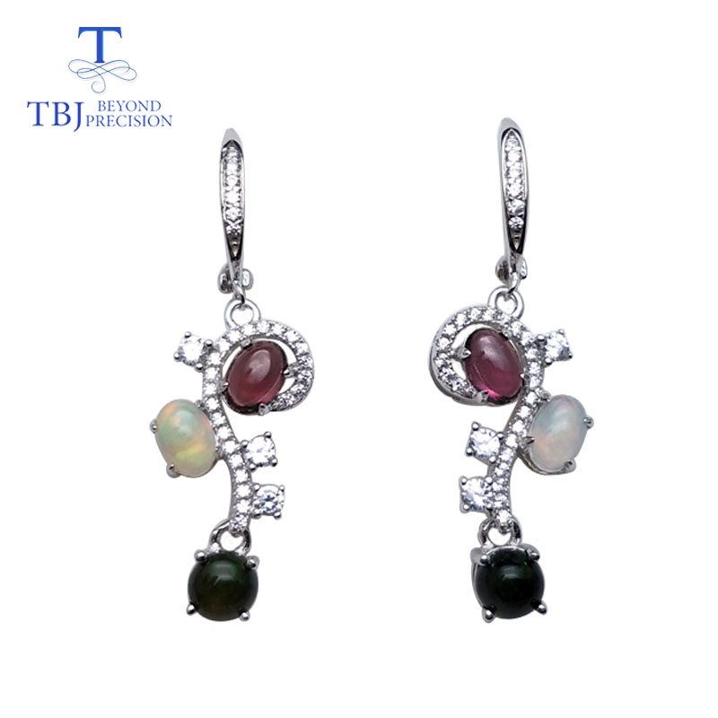 TBJ Natural opal and rhodolite gemstone flower shape earring 925 sterling silver fine jewelry for woman