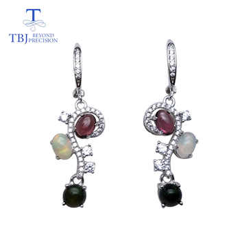 TBJ,Natural opal and rhodolite gemstone flower shape earring 925 sterling silver fine jewelry for woman anniversary best gift - DISCOUNT ITEM  10% OFF All Category