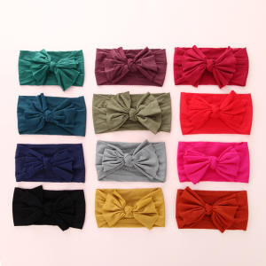 ETALLEG Knot Bow Nylon Headbands One size Wide Headwraps