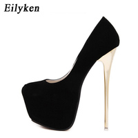 Eilyken Sexy Pumps Wedding Women Fetish Shoes Concise Woman Pumps Latform Very High Heel Stripper Flock Pumps 16 cm size 34 45