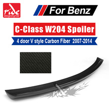 цена на Carbon Fiber V Style 4 Door Duckbill Trunk Lid Spoiler Trunk Spoiler Wing for Mercedes Benz C Class W204 C180 C200 C250 2007-14