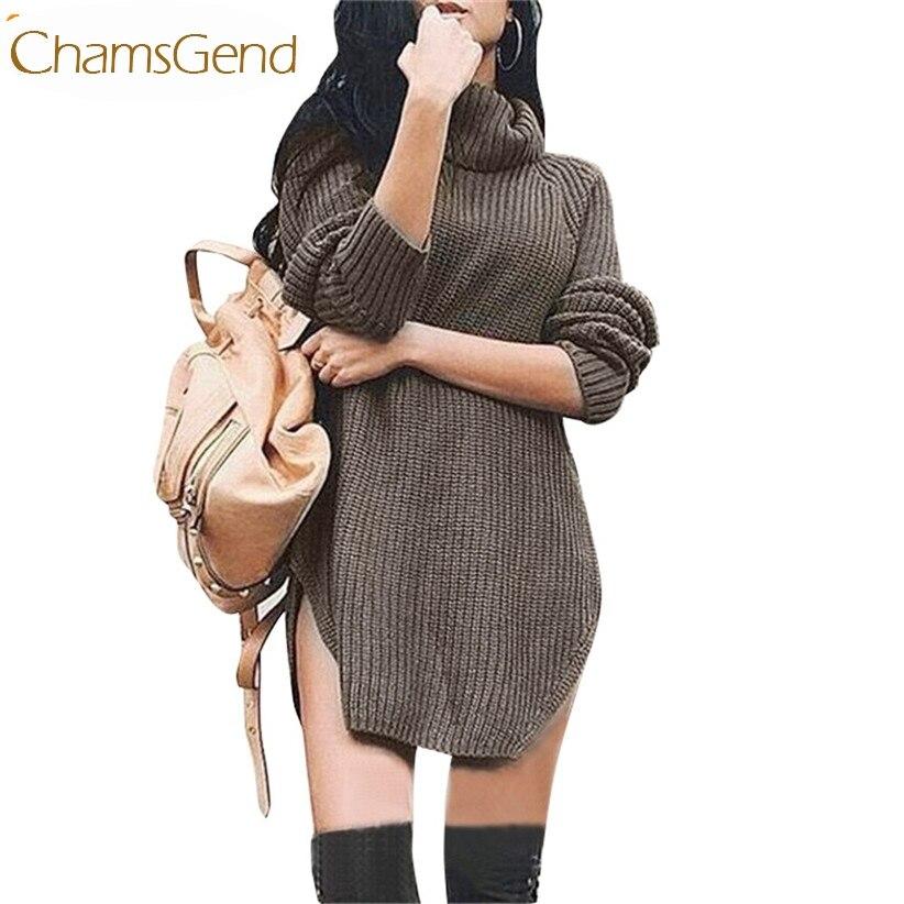 Newly Design Fashion Women Sexy Brown Long Sleeve Knitted Sweater Turtleneck Loose Split Dress 161026 Drop Shipping economic newly design 2 4mx1 2mx3cm cheap gymnastic mats