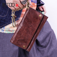 AETOO Men's Retro long wallet men's leather handmade temperament youth hasp wallet