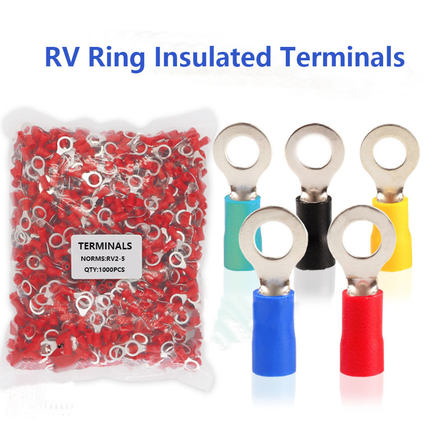 RV2 5 1000pcs Ring Insulated Cold Press cable Terminal Connectors Circular Electrical Wire Joint Crimp Terminals AWG 16~14 Terminals    - title=
