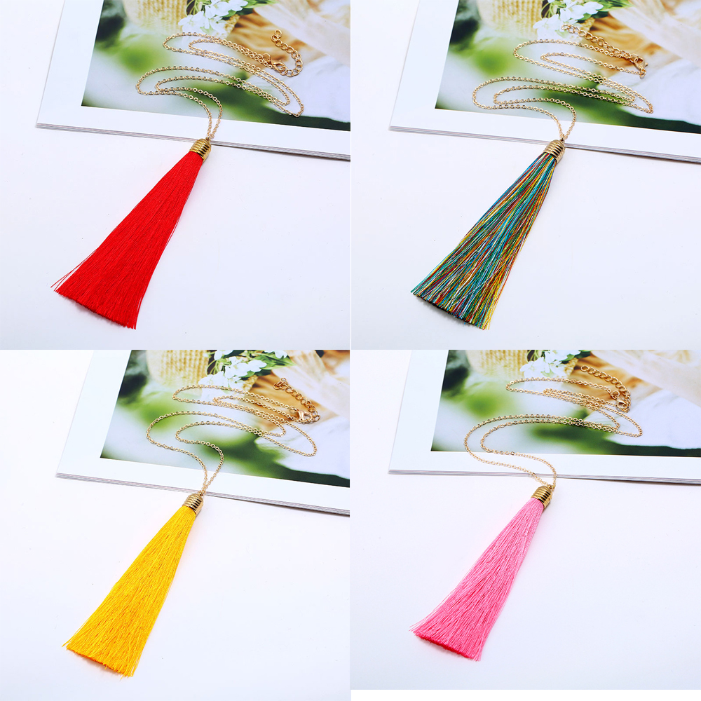 Long Tassel Necklace For Women Ethnic Chain Sweater Necklace Boho Bohemian Dress Necklace Vintage Fashion Jewelry 4 Colors